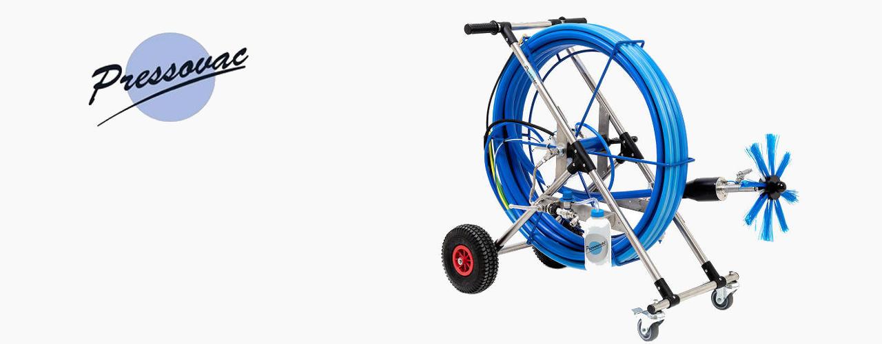 O Pressovac PDW é um dispositivo de escovagem pneumático com funções de lavagem de alta pressão integradas para a limpeza de condutas retangulares e redondas de grandes dimensões